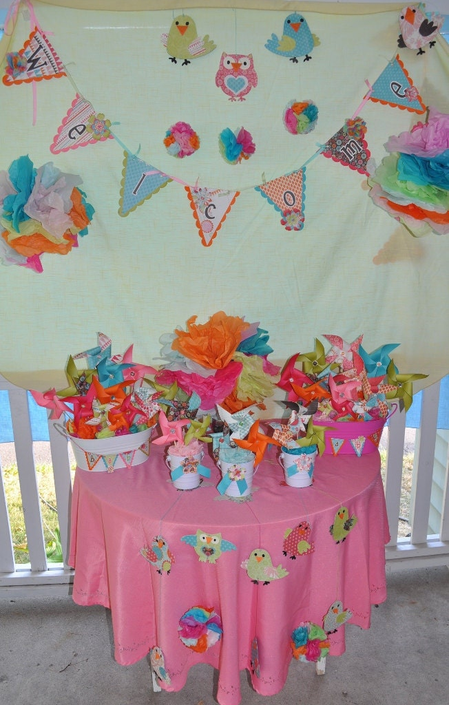 birds and owls baby girl shower decorations by pamspartyfavors