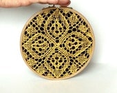 "Embroidery Hoop Art - yellow knitted lace - wall hanging house decoration - 6"" - zolayka"