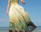 Change Tone Maxi Dress Romance Long Dress Floral Bridesmaid Dress Sundress XS S M L XL - myuniverse