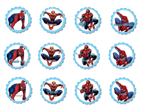 Spiderman cupcake toppers by lollipopparty on etsy picture - Is For 12 Cupcake Toppers Favour Tags Stickers Featuring