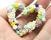 Flowers brooch - Wedding -- Floral brooch -- Heart Brooch -- Free shipping - eteniren