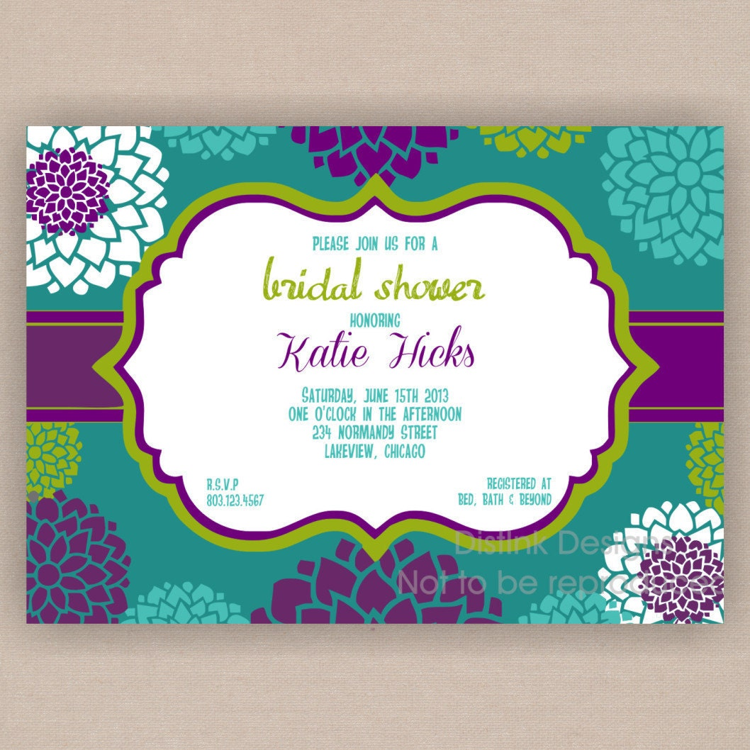 etsy.comGorgeous Flower Bridal Shower / Wedding Shower Invitation