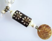 Necklace, Carved Wood Look with Shell Discs and Glass Beads