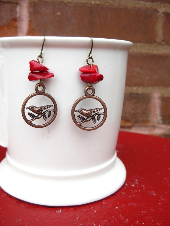 Bird Earrings, Red Coral, Lovebirds