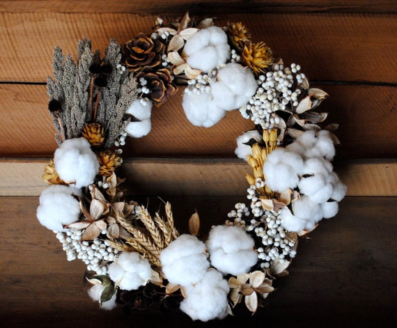 Mixed Cotton Boll Wreath - Natural Cotton - Raw Cotton - Dried Floral - Centerpiece - Candle Ring - Wedding - Home Decor - 18""