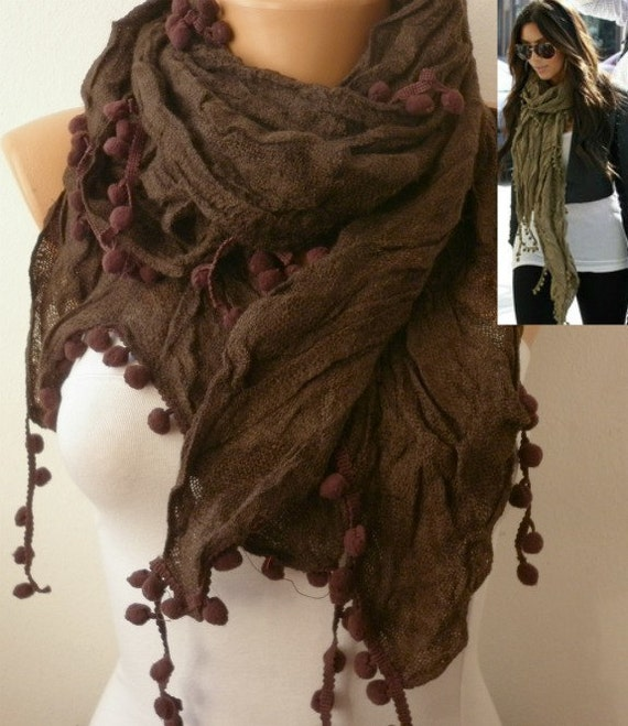 Brown Women Shawl Scarf Cowl by fatwoman on Etsy Brown Scarves For Women