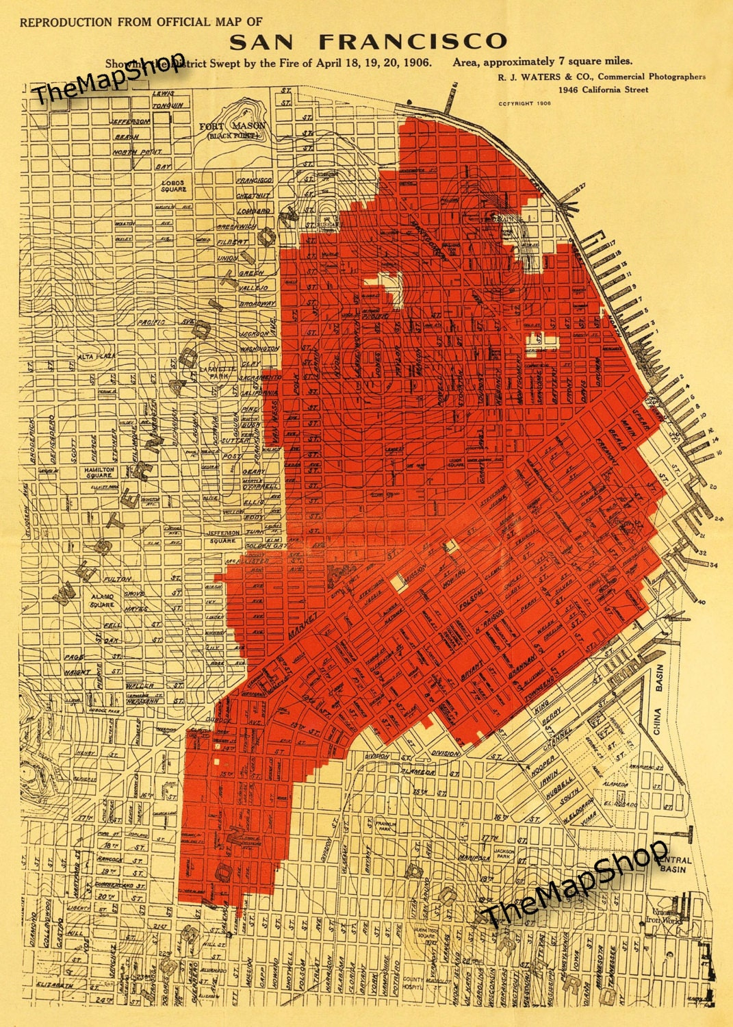 1906 San Francisco Fire Map Carolles City by the Bay
