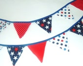 Patriotic Mini Bunting - Red White & Blue Garland - pasqueflower