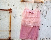 SALE Holiday pink gift gypsy Prairie Shabby girl fairy tattered eco Victoria's Secret rustic cami top tunic - kateblossom