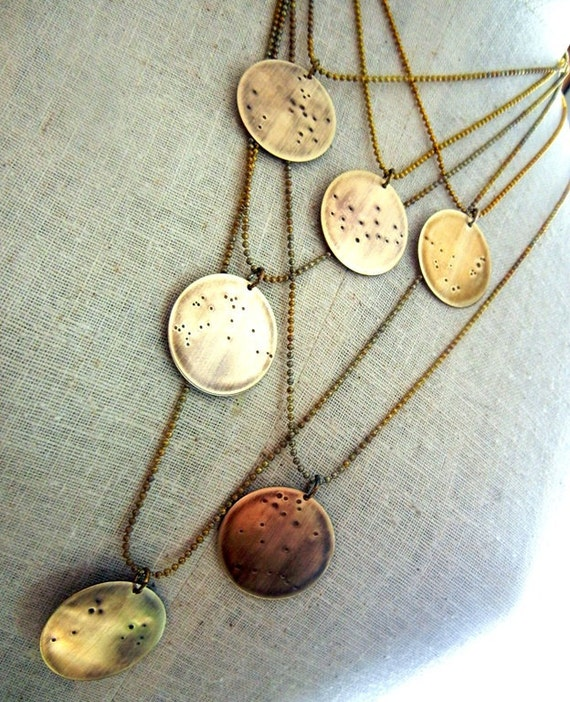 Zodiac Constellation Necklace - What's Your Sign - CHOOSE YOUR SIGN Brass Necklace by E. Ria Designs Jewelry