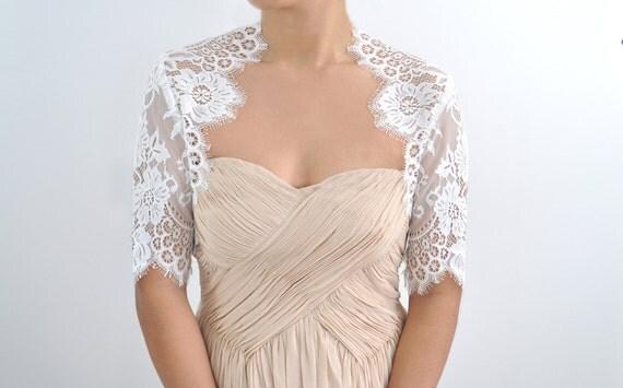 Valerie Bridal french lace bolero shrug ivory off white S M CUSTOM