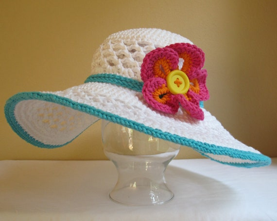 CROCHET PATTERN - Aloha - a wide brimmed sun hat with flower in 4 sizes (Child - Adult L)