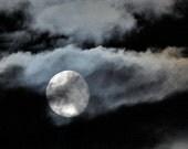 Moon Photo, cloudy night sky, moon photograph, silver moon,  8 x 8 print No103- Escape - LoneCrowPhoto