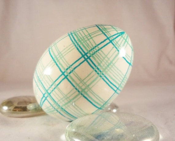 Easter Egg Plaid , Aqua, Turquoise Colors, Ukrainian Batik Eggs, Easter Bunny Eggs, Pysanky