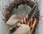 JULY SALE Americana Legacy Wreath with Tea Stained Flag - NewEnglandWreath