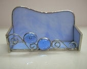 Blue Stained Glass Business Card Holder - GlassicArtistry