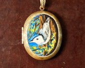 Hand Painted Locket Nuthatch Painting Original Art by Ladyjanes Posin Parlor - ladyjanesposinparlor
