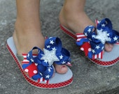 American Girl Bow Flip Flops - Red White and Blue flip flops -- Memorial Day - 4th of July - DarlingLittleBowShop