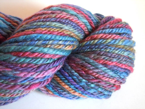 Rainbow Handspun Hand dyed chain plied BFL yarn 112g