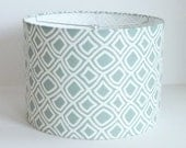 Drum lamp shade in pale aqua diamond geometric fabric - LampShadeDesigns