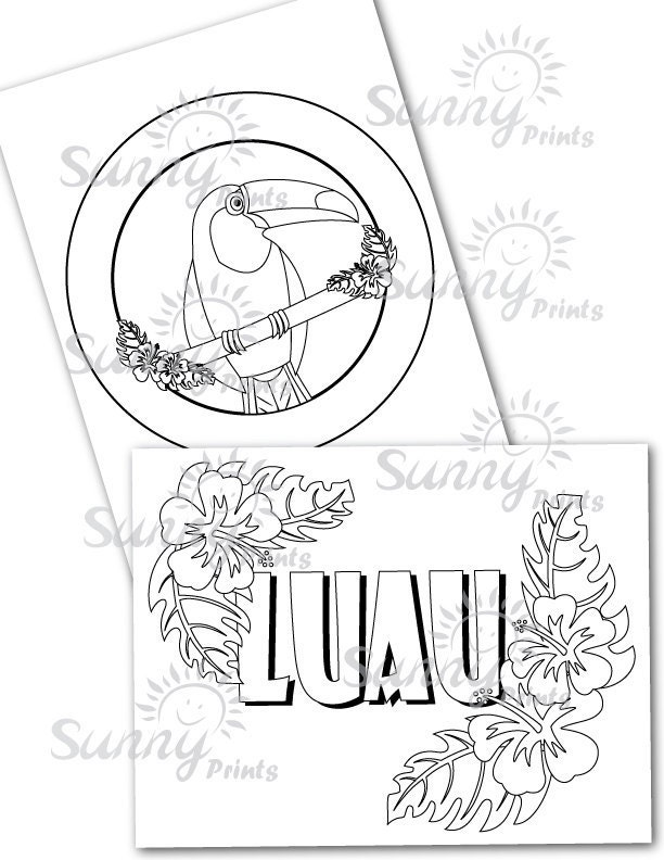 Pin luau coloring pages for a hawaiian party tropical for Free coloring pages luau