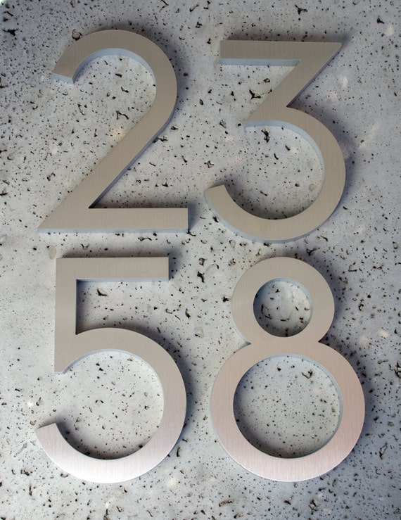 "Modern House Numbers Modern Font Recycled Aluminum Set of 4 numbers 8"" tall"