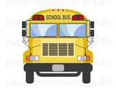 School Bus Clip Art - 3 Sizes in Set - JPG and PNG Files