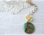 Antique Brass Blue Locket with Bunny With Bowtie and Yellow Flower Necklace - lovelysparrowandco