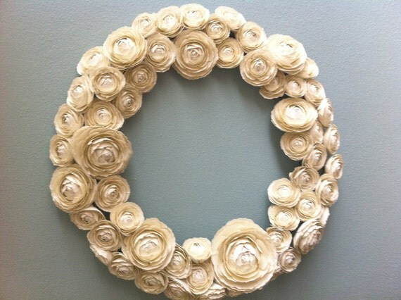 Paper Ranunculus Wreath in Ivory