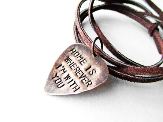 Guitar Pick Necklace with song lyrics - Edward Sharpe and The Magnetic Zeros - Home is Wherever I'm with you - Mens Gift