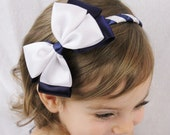 Navy and White Hair Bow Headband - White and Navy Blue Fancy Headband - Navy White Wedding Headband