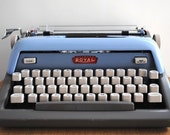 Vintage Typewriter - Blue Royal Futura 800 Portable Typewriter Retro Office Fathers Day - labiblioteca