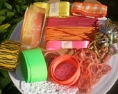 Neon Bright Trim Ribbon Assortment New and Vintage 25 Yards