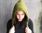 Crochet Pixie Hood Beanie Hoodie in Olive Green Fashion Accessory - LanadeAna