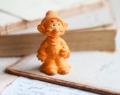1982 Cute Orange Rubber Dopey Figurine - Seven Dwarfs - Miniature Disney Character - Meanglean