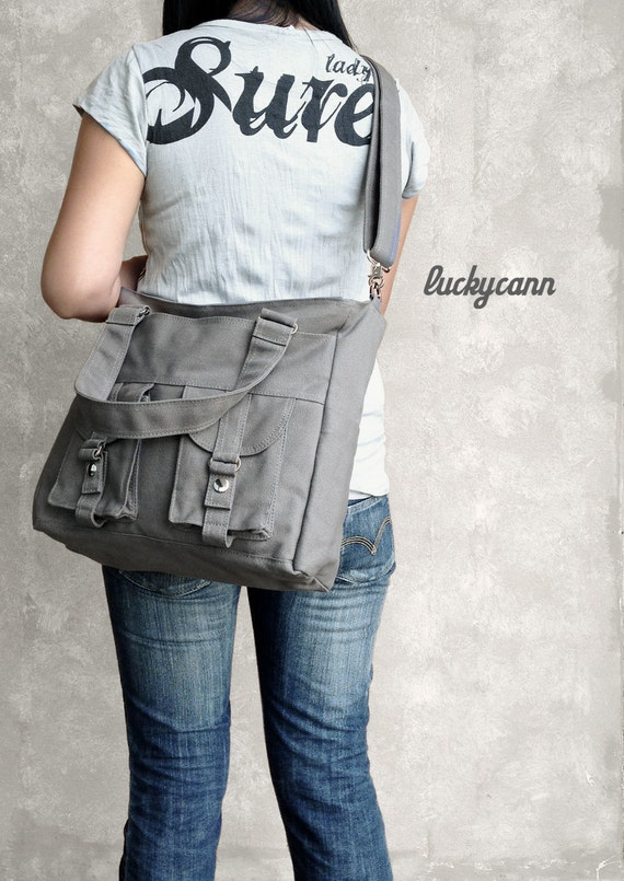 BAILEY // Dark Grey // Luckycann // Handmade // Everyday Canvas Bag  // Sale
