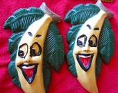 Weird Bananas smiling happy chalk ware kitchen wall decor - WeirdMary