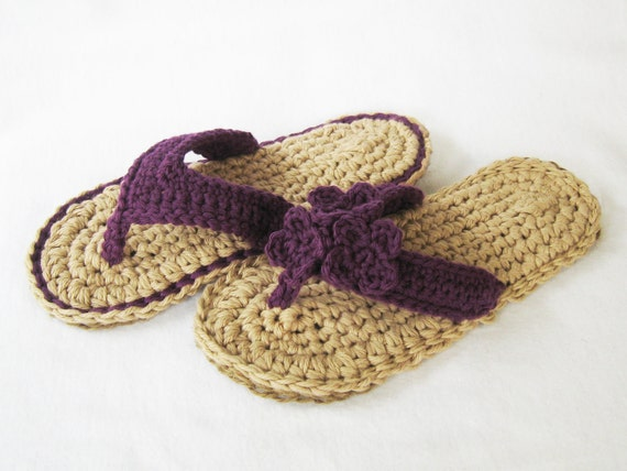 CROCHET PATTERN Indoor/Outdoor Violet Flip Flops (4 sizes included: Womens 3-10) Permission to sell finished items