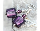Aubergine Murano tile Earrings Artisan violet silver foil Lampwork bead, Gift Idea for her - MADEbyMADA