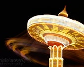 Fine Art Photo, Swings Carnival Ride Night Lights Boardwalk Summer Motion Spinning, Matted 8x12 - Brownielle