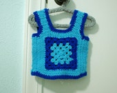 granny square vest, vintage baby boy or girl, 6-9 months - dahliadaffodil