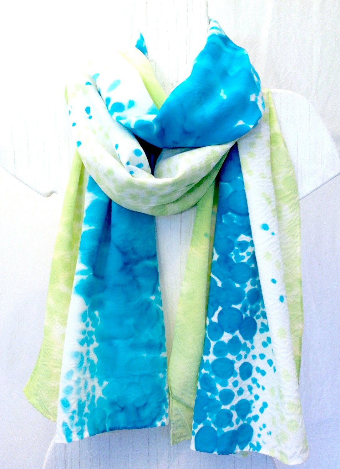 scarf spring fashion green silk scarf french silk dye 22x90 in from Watercolor Hand Painted Silk Scarves