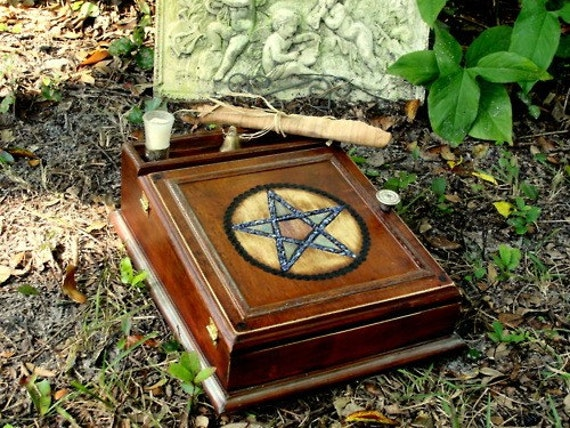 Magickal Altar Wicca Pagan Charging Cleansing Box Vessel w/ Gem stone inlay Handmade Witches Tool- Recharge Your Spells Vintage Altar box