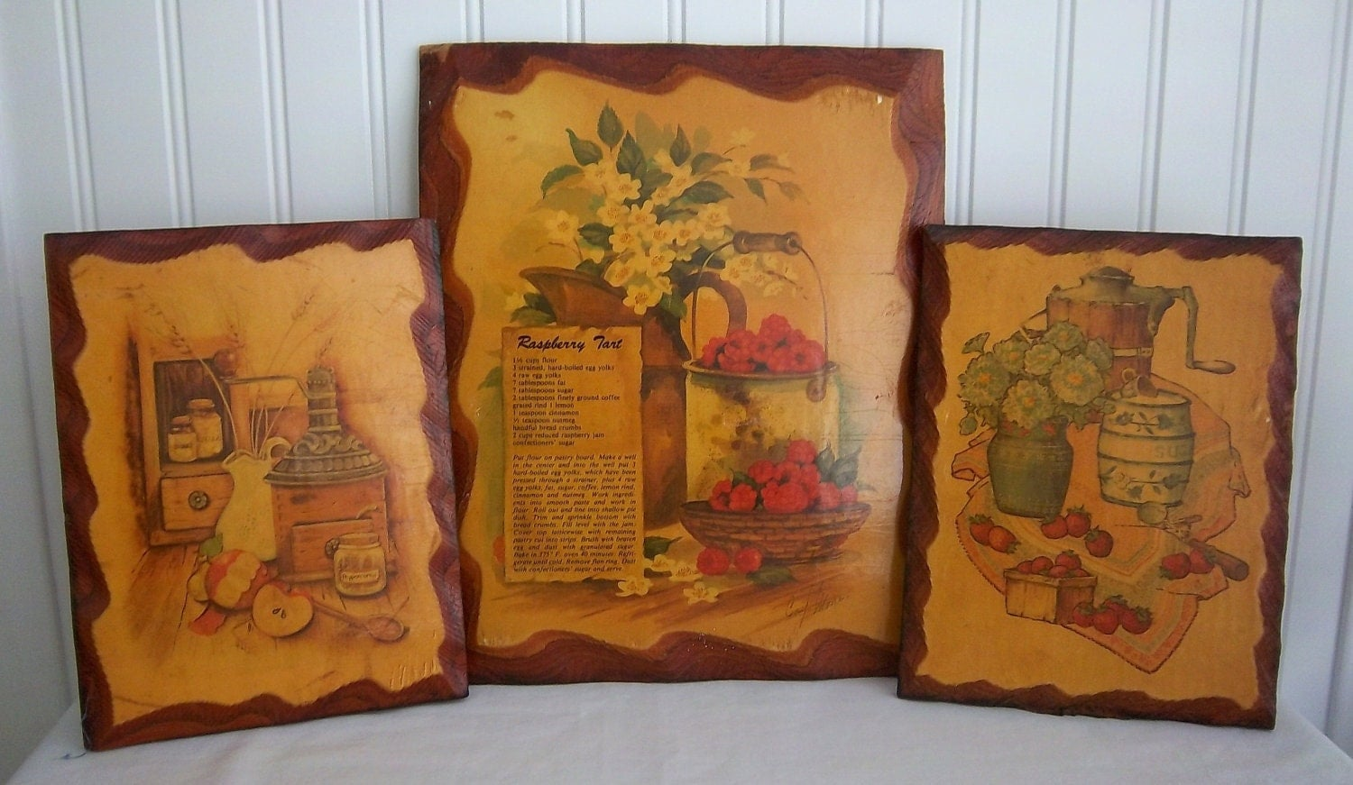 Vintage Wooden Decoupage Kitchen Wall Plaques by cackalackyvintage