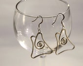 Handmade earrings Art Deco Art Nouveau silver wire wrapped - offpeter