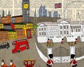 London art print large poster illustration 8x10