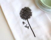 Flour Sack Towel, Dandelion, Cotton, Kitchen Towel, Hostess Gift, Housewarming Gift - AppleWhite