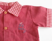 vintage baby shirt with embroidered train 9 months