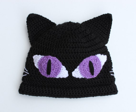 Black Crocheted Moonlight Cat with Purple Eyes Beanie Hat - newborn - Adult - Made To Order
