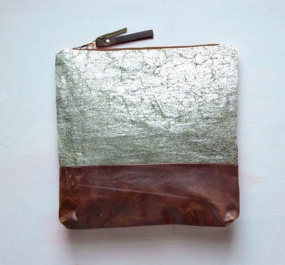 S I L V E R Metallic Leather Clutch. Large Make Up Bag. Green Tea Linen with Silver Foil